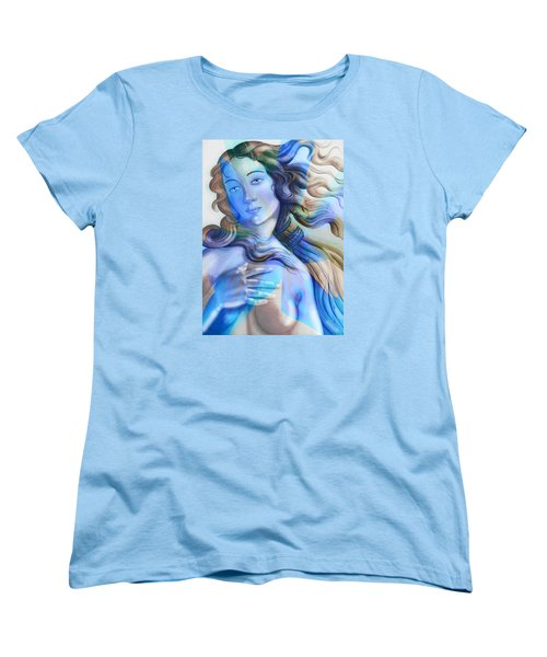 Women's T-Shirt (Standard Cut) featuring the painting Abstract Venus Birth 4 by J- J- Espinoza