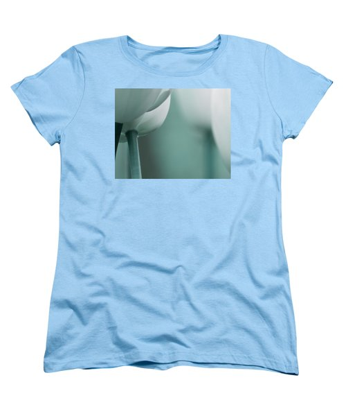 Women's T-Shirt (Standard Cut) featuring the photograph Abstract Blue White Flowers Photography Online Art Print Shop by Artecco Fine Art Photography