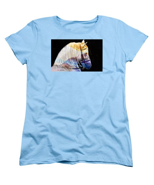 Women's T-Shirt (Standard Cut) featuring the painting Abstract White Horse 50 by J- J- Espinoza