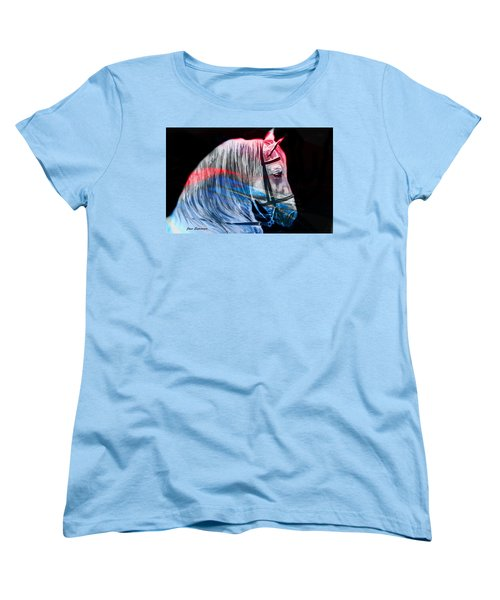 Women's T-Shirt (Standard Cut) featuring the painting Abstract White Horse 53 by J- J- Espinoza