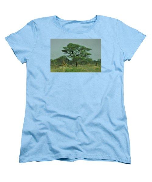 Acacia Tree And Termite Hills Women's T-Shirt (Standard Cut) by Ernie Echols