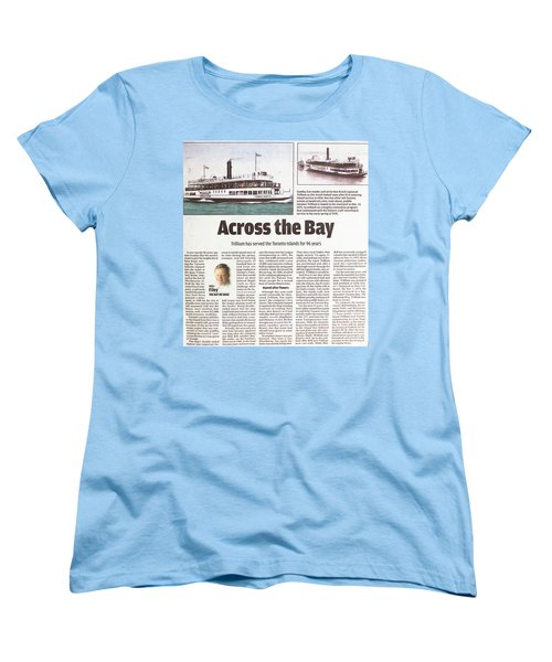 Women's T-Shirt (Standard Cut) featuring the painting Toronto Sun Article Across The Bay by Kenneth M Kirsch