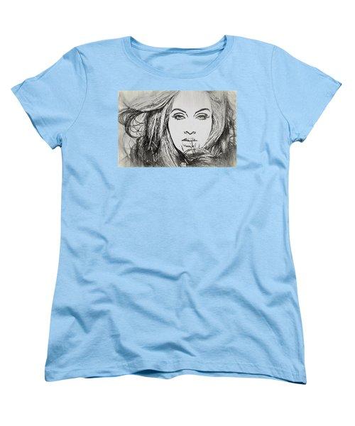 Adele Charcoal Sketch Women's T-Shirt (Standard Cut) by Dan Sproul