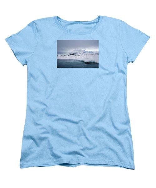 Adelie Penguins On Iceberg Weddell Sea Women's T-Shirt (Standard Cut) by Brian Lockett
