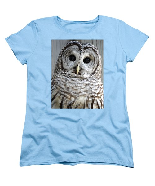 Adorable Barred Owl  Women's T-Shirt (Standard Cut) by Rebecca Overton