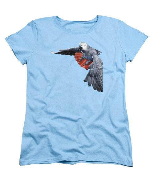African Grey Parrot Flying Women's T-Shirt (Standard Cut) by Owen Bell