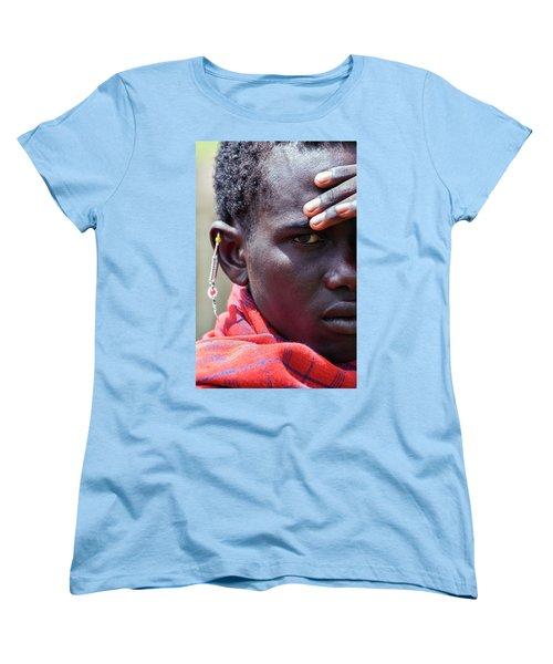African Maasai Warrior Women's T-Shirt (Standard Cut) by Amyn Nasser