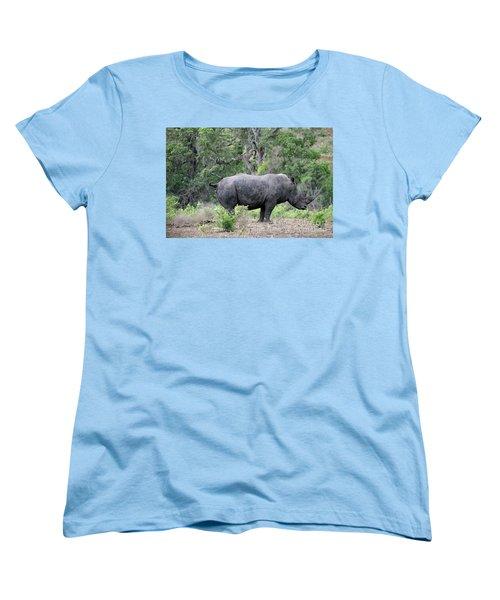African Safari Naughty Rhino Women's T-Shirt (Standard Cut) by Eva Kaufman