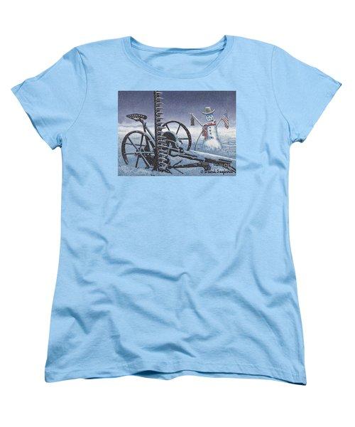 After The Harvest Snowman Women's T-Shirt (Standard Cut) by John Stephens