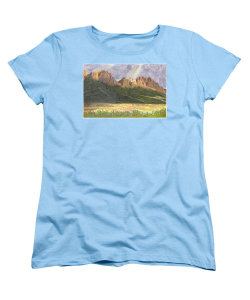 Women's T-Shirt (Standard Cut) featuring the painting After The Monsoon Organ Mountains by Jack Pumphrey