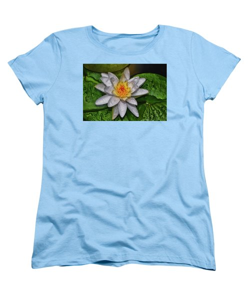 Women's T-Shirt (Standard Cut) featuring the photograph After The Rain - Water Lily 003 by George Bostian