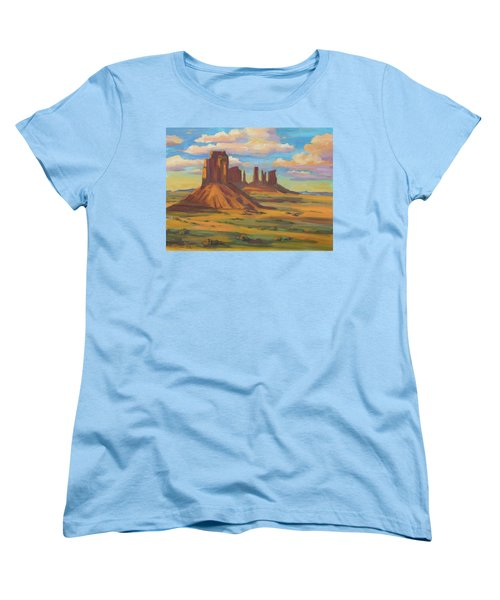 Women's T-Shirt (Standard Cut) featuring the painting Afternoon Light Monument Valley by Diane McClary
