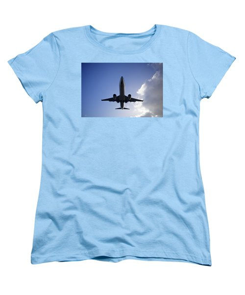 Airplane Landing Women's T-Shirt (Standard Cut) by Teemu Tretjakov