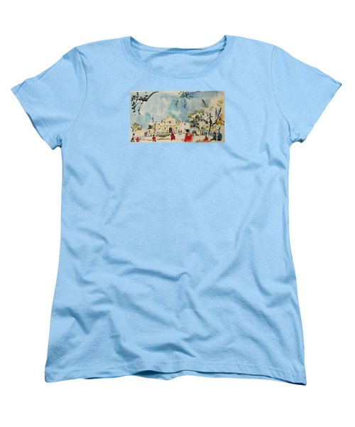 Women's T-Shirt (Standard Cut) featuring the painting Alamo San Antonio by Becky Kim