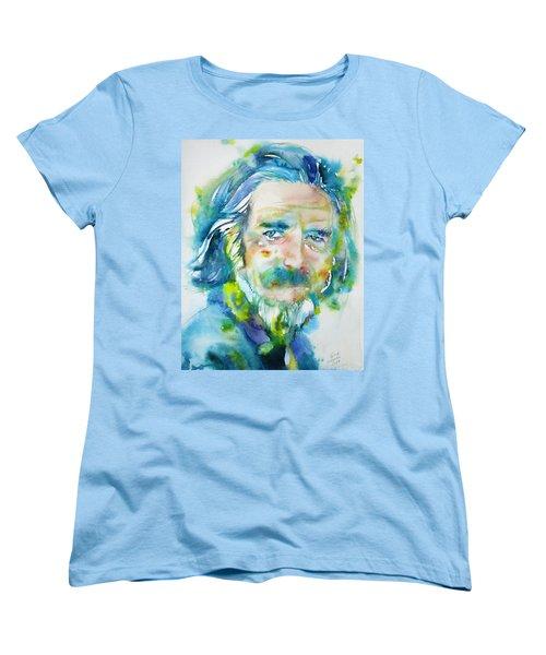 Women's T-Shirt (Standard Cut) featuring the painting Alan Watts - Watercolor Portrait.4 by Fabrizio Cassetta