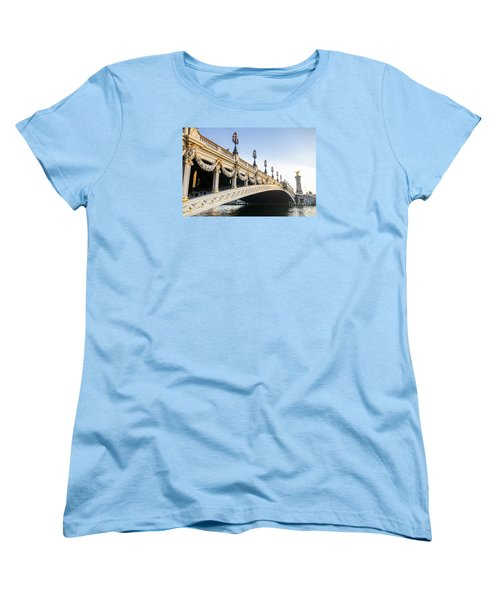 Alexandre IIi Bridge In Paris France Early Morning Women's T-Shirt (Standard Cut) by Perry Van Munster