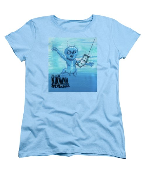 Women's T-Shirt (Standard Cut) featuring the painting Alien Nevermind by Similar Alien