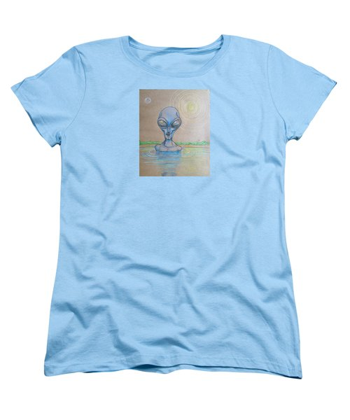 Women's T-Shirt (Standard Cut) featuring the drawing Alien Submerged by Similar Alien