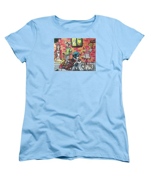 Women's T-Shirt (Standard Cut) featuring the painting Aliens Love Dogs by Similar Alien