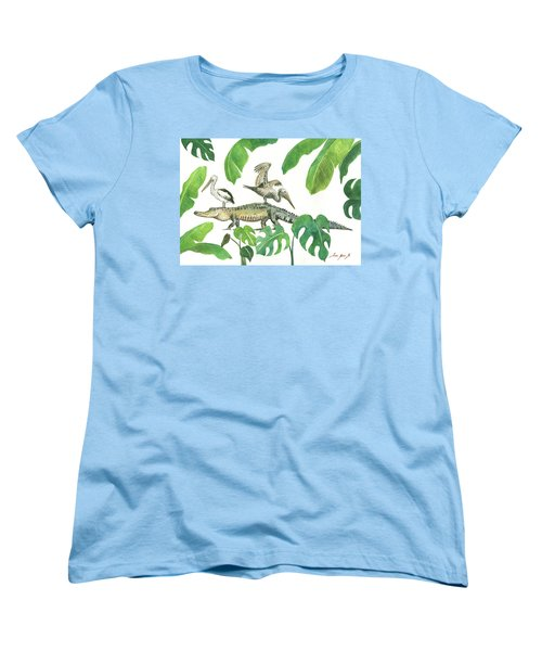 Alligator And Pelicans Women's T-Shirt (Standard Cut) by Juan Bosco