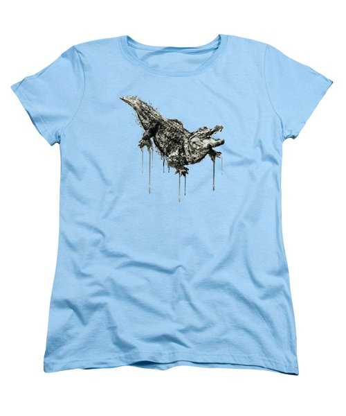 Alligator Black And White Women's T-Shirt (Standard Cut) by Marian Voicu
