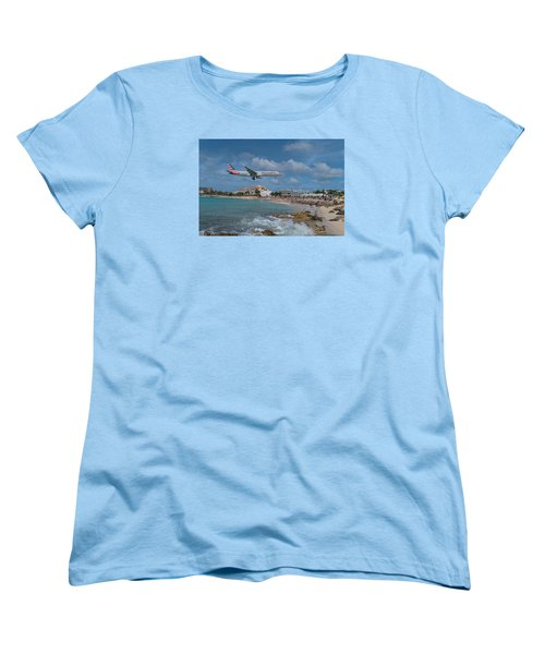 American Airlines Landing At St. Maarten Airport Women's T-Shirt (Standard Cut) by David Gleeson