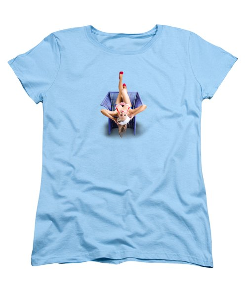Women's T-Shirt (Standard Cut) featuring the photograph American Pinup Woman Upside Down On Cane Chair by Jorgo Photography - Wall Art Gallery