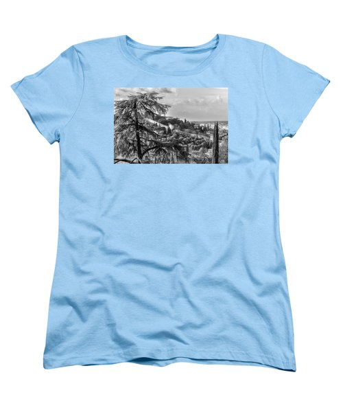 Women's T-Shirt (Standard Cut) featuring the photograph Ancient Walls Of Florence-bandw by Sonny Marcyan