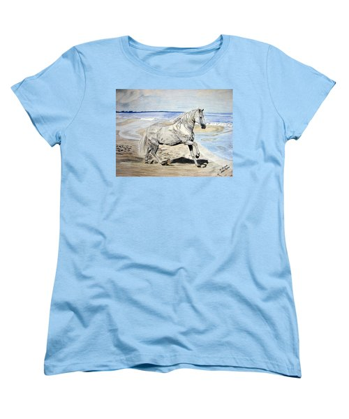 Women's T-Shirt (Standard Cut) featuring the drawing Andalusian Horse by Melita Safran