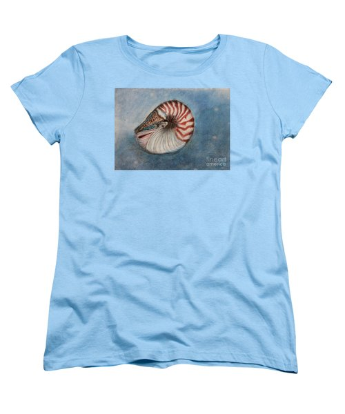 Women's T-Shirt (Standard Cut) featuring the painting Angel's Seashell  by Kim Nelson