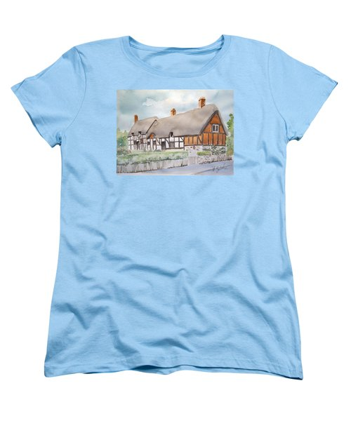 Women's T-Shirt (Standard Cut) featuring the painting Anne Hathaway's Cottage by Marilyn Zalatan