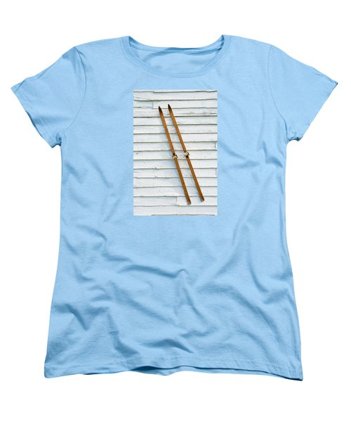 Antique Skis On The Wall Women's T-Shirt (Standard Cut) by Gary Slawsky