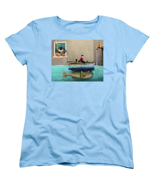 Women's T-Shirt (Standard Cut) featuring the painting Anyfin Is Possible - Fisherman Toy Boat And Mermaid Still Life Painting by Linda Apple