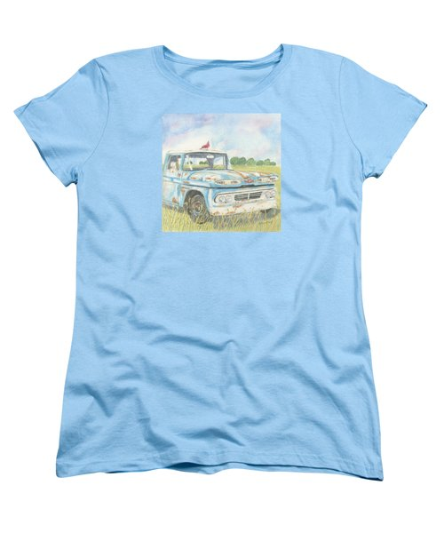 Women's T-Shirt (Standard Cut) featuring the drawing Apache Out To Pasture by Arlene Crafton