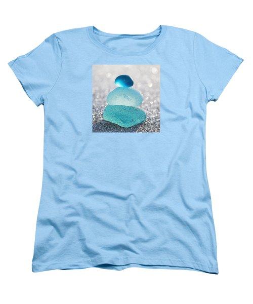Aquamarine Ice Women's T-Shirt (Standard Cut) by Barbara McMahon