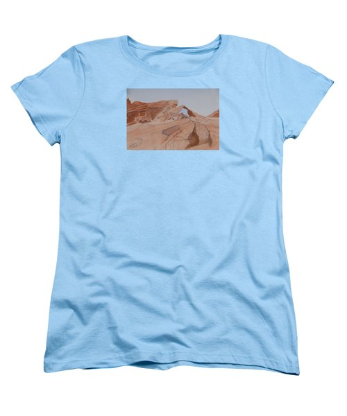 Arch Rock - A Watercolor Sketch Women's T-Shirt (Standard Cut) by Joel Deutsch