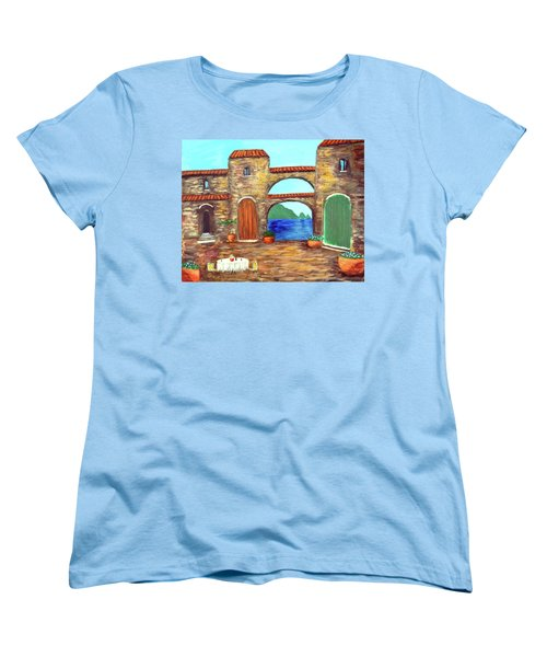 Women's T-Shirt (Standard Cut) featuring the painting Arches Of Amalfi  by Larry Cirigliano