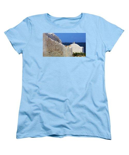 Women's T-Shirt (Standard Cut) featuring the photograph Architecture Mykonos Greece 2 by Bob Christopher
