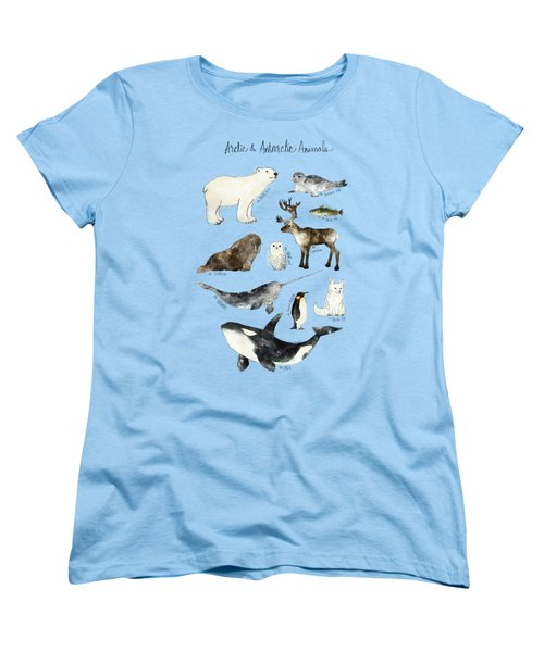 Arctic And Antarctic Animals Women's T-Shirt (Standard Cut) by Amy Hamilton