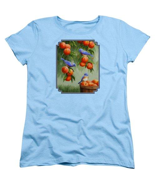 Bird Painting - Bluebirds And Peaches Women's T-Shirt (Standard Cut) by Crista Forest