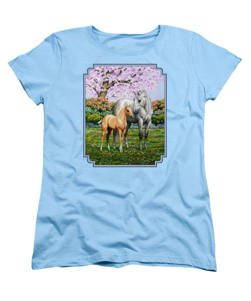 Spring's Gift - Mare And Foal Women's T-Shirt (Standard Cut) by Crista Forest
