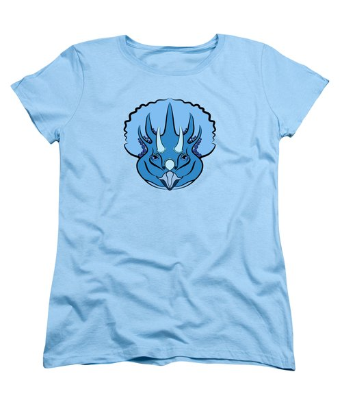 Women's T-Shirt (Standard Cut) featuring the digital art Triceratops Graphic Blue by MM Anderson