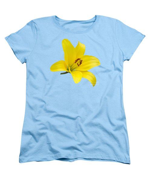 Yellow Asiatic Lily On Blue Women's T-Shirt (Standard Cut) by Jane McIlroy
