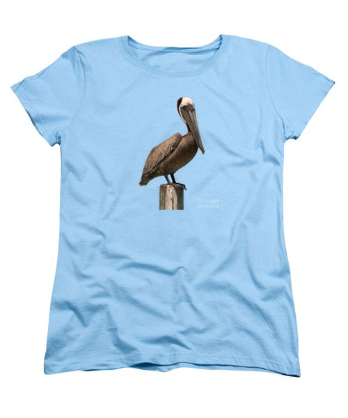 Pelican Perched On A Piling Women's T-Shirt (Standard Cut) by John Harmon