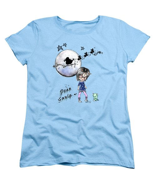 Women's T-Shirt (Standard Cut) featuring the painting Tilly And Sprite Play Reindeers by Lizzy Love
