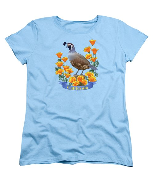 California Quail And Golden Poppies Women's T-Shirt (Standard Cut) by Crista Forest