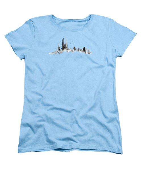 White Barcelona Skyline Women's T-Shirt (Standard Cut) by Aloke Creative Store