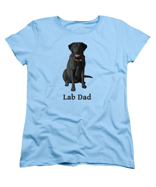 Black Labrador Retriever Lab Dad Women's T-Shirt (Standard Cut) by Crista Forest