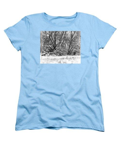 Three Tires And A Snowstorm Women's T-Shirt (Standard Cut) by Bill Kesler