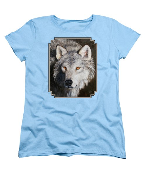 Wolf Portrait Women's T-Shirt (Standard Cut) by Crista Forest